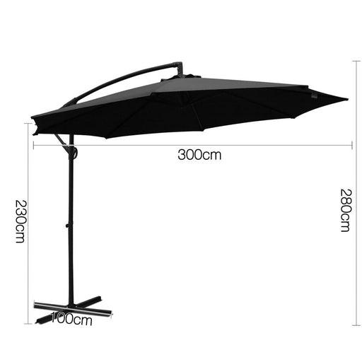 Instahut 3m Cantilevered Outdoor Umbrella - Black -