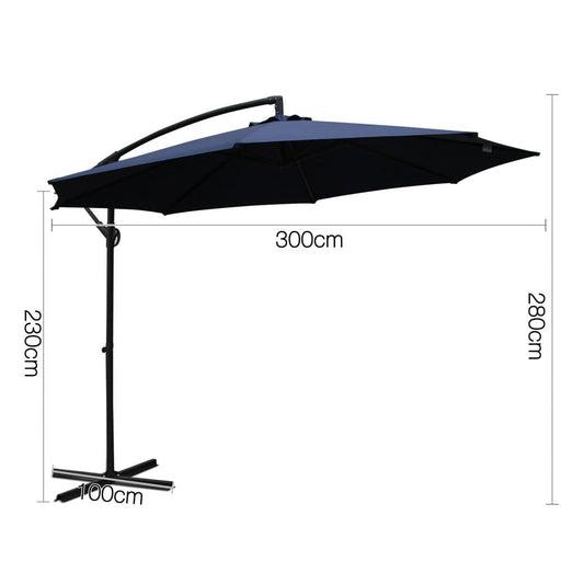 Instahut 3m Cantilevered Outdoor Umbrella - Navy - Furniture