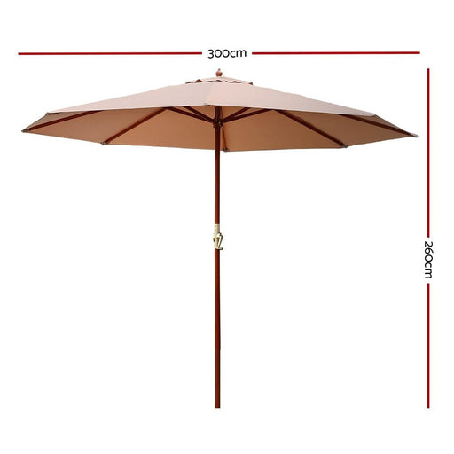 Instahut 3m Outdoor Pole Umbrella Cantilever Stand Garden