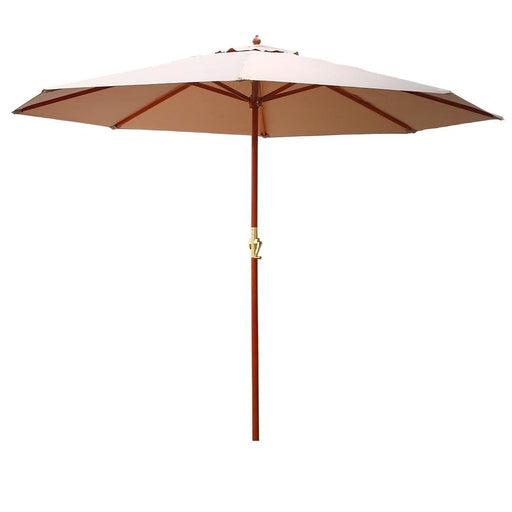 Instahut 3M Outdoor Pole Umbrella Cantilever Stand Garden Umbrellas Patio Beige