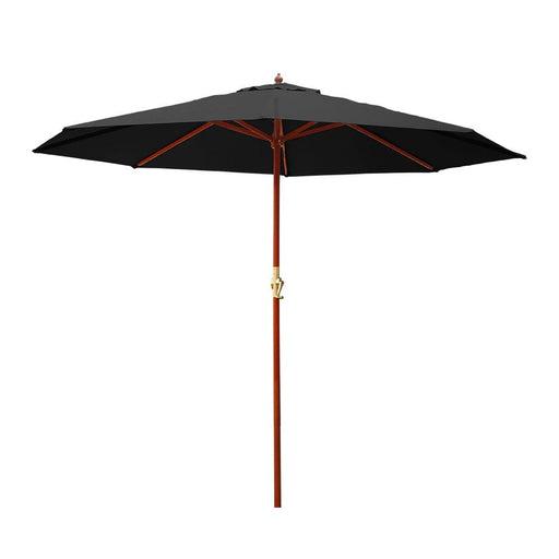 Instahut 3M Outdoor Pole Umbrella Cantilever Stand Garden Umbrellas Patio Black