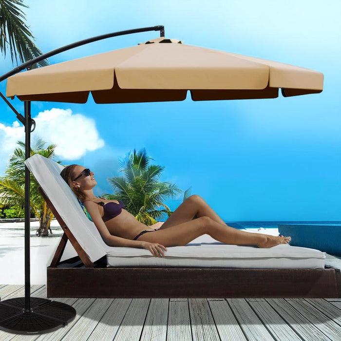 Instahut 3m Outdoor Umbrella - Beige - Furniture > Outdoor