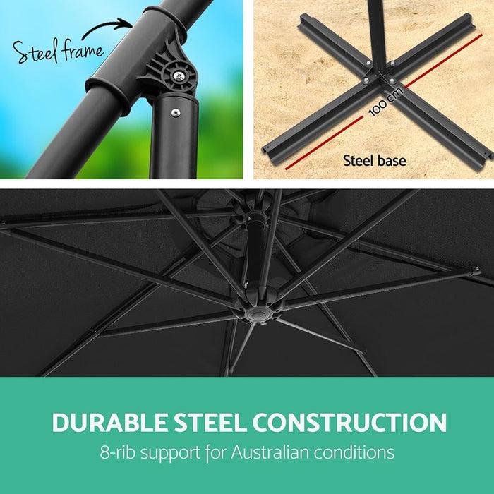 Instahut 3m Outdoor Umbrella - Black - Furniture > Outdoor