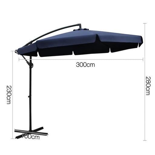 Instahut 3m Outdoor Umbrella - Navy - Furniture > Outdoor