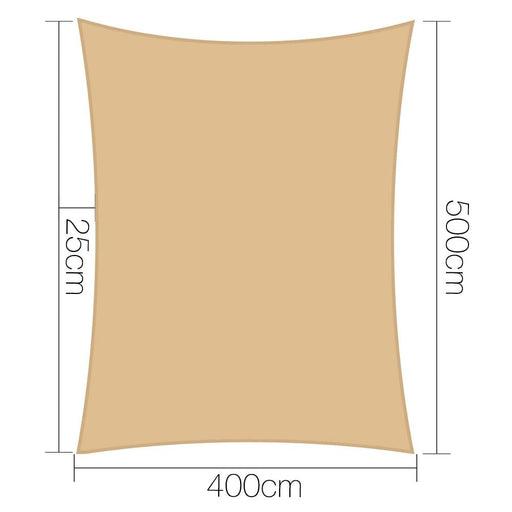 Instahut 4 X 5m Waterproof Rectangle Shade Sail Cloth - Sand