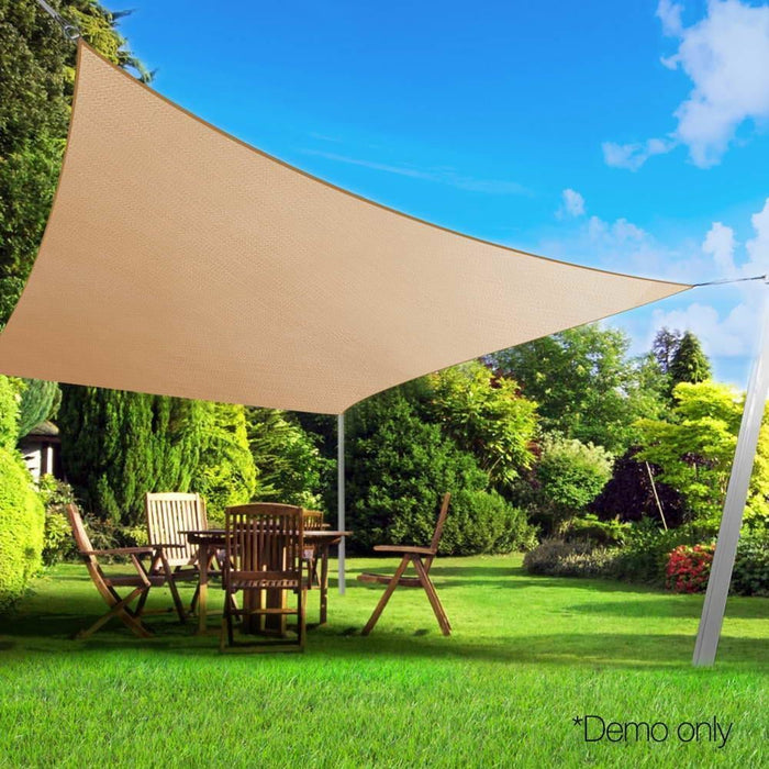 Instahut 4x5m Shade Sail Sun Shadecloth Canopy 280gsm Sand goslash fast delivery fast delivery