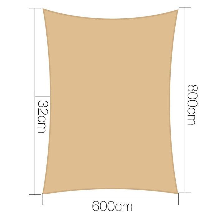 Instahut 6x8m 280gsm Shade Sail Sun Shadecloth Canopy Square
