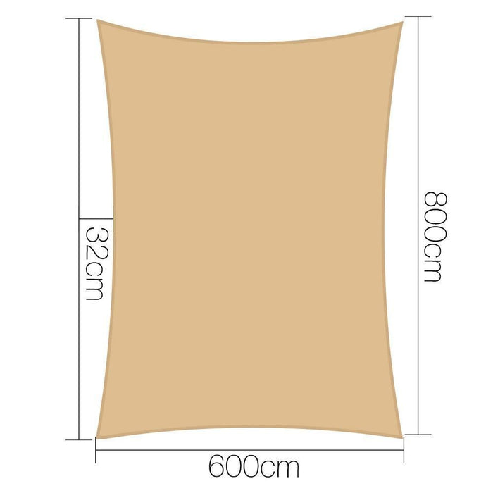 Instahut 6x8m 280gsm Shade Sail Sun Shadecloth Canopy Square goslash fast delivery fast delivery