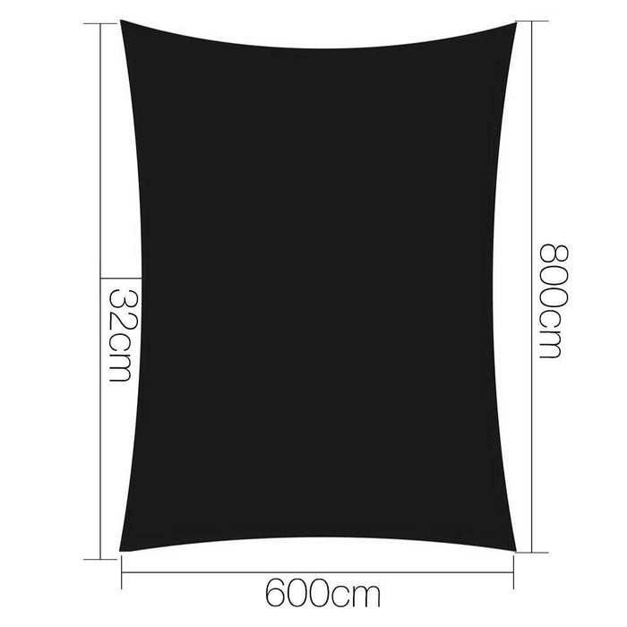 Instahut 6x8m Shade Sail Sun Shadecloth 280gsm Black goslash fast delivery fast delivery