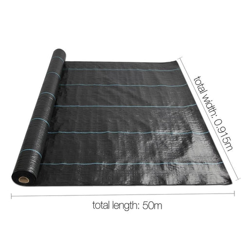Instahut 0.915m X 50m Weedmat Weed Control Mat Woven Fabric