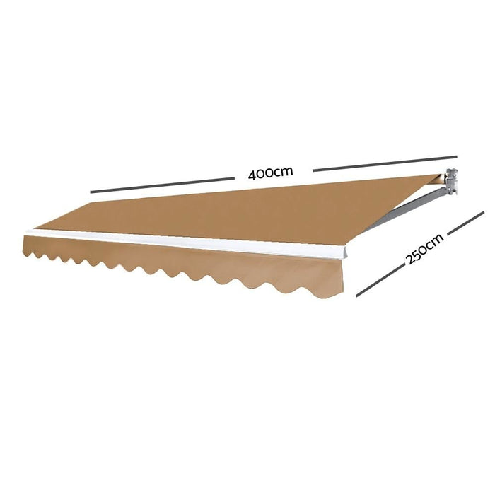 Instahut Motorised 4x2.5m Folding Arm Awning - Beige - Home
