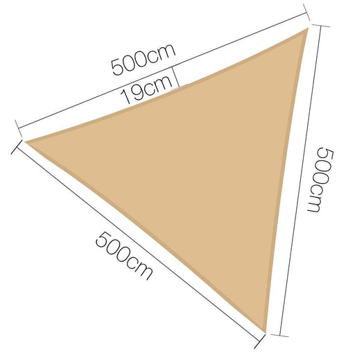 Instahut Sun Shade Sail Canopy Triangle 280gsm 5x5x5m goslash fast delivery fast delivery