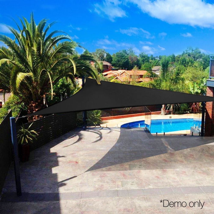 Instahut Sun Shade Sail Canopy Triangle 280gsm 5x5x5m Black goslash fast delivery fast delivery