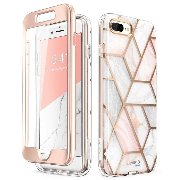 For Iphone 7 plus / 8 plus Case 5.5 Inch Cosmo Full-body Marble Pink Bumper Case