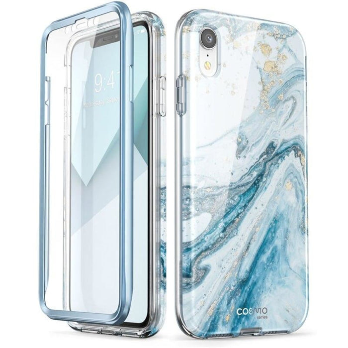 """For Iphone Xr Case 6.1"""" Cosmo Series Full-body Glitter Marble Bumper Case with"""