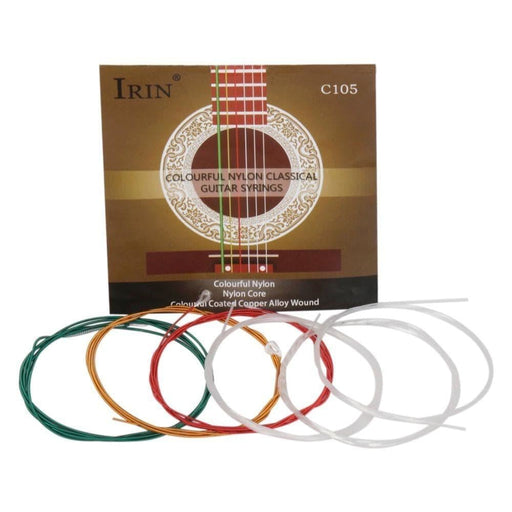 IRIN C105 Rainbow Colorful Guitar Strings Nylon Core Colorful Coated Copper Alloy Wound For Acoustic Classical Guitar(.028-.043)