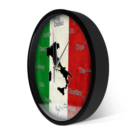 Italian Language Smart Wall Clock Italy Flag with Map Patriotic Home Decor Modern Design Sound Activated Night Light Wall Clock