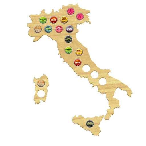 Italy Beer Cap Map Bottle Cap Map  Collection Beer Gift Wood Map Bar Pub Club Italian Bottle Cap Map Gifts for Wine Beer Lovers
