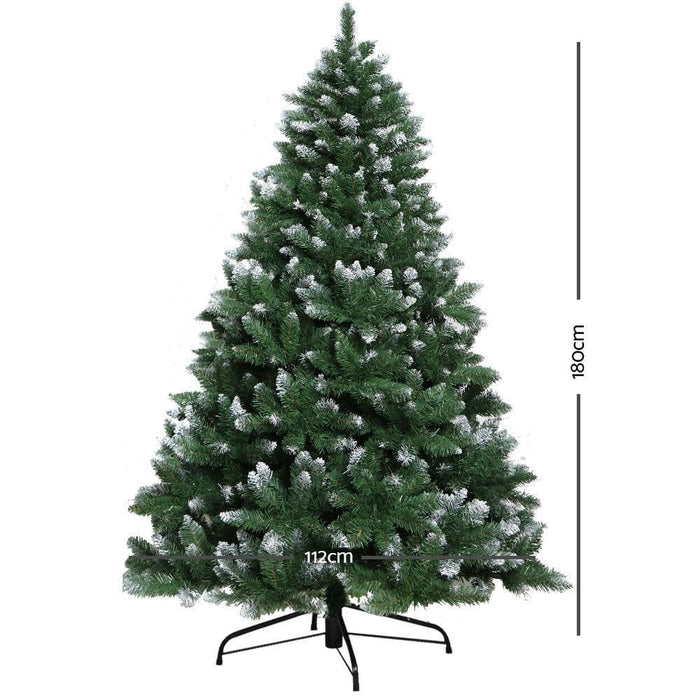 Jingle Jollys 6FT Christmas Snow Tree - Green goslash fast delivery fast delivery
