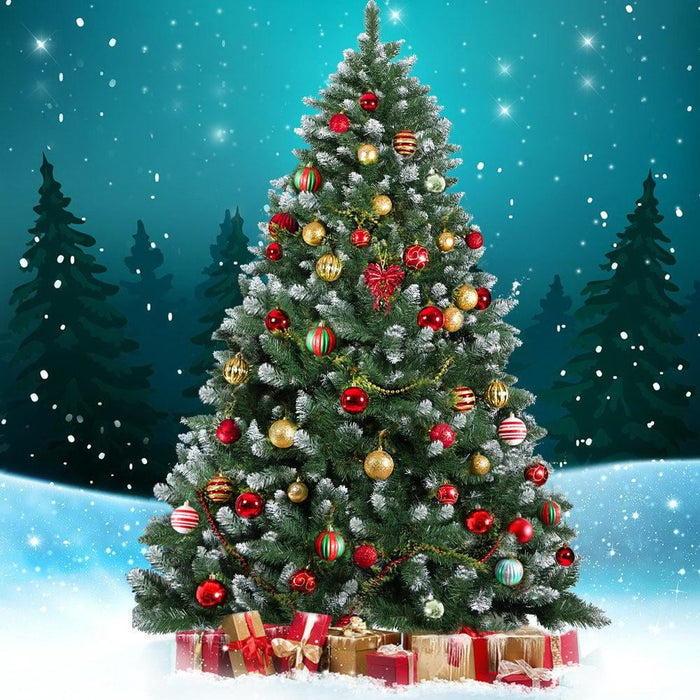 Jingle Jollys 6ft Christmas Snow Tree - Green - Occasions >