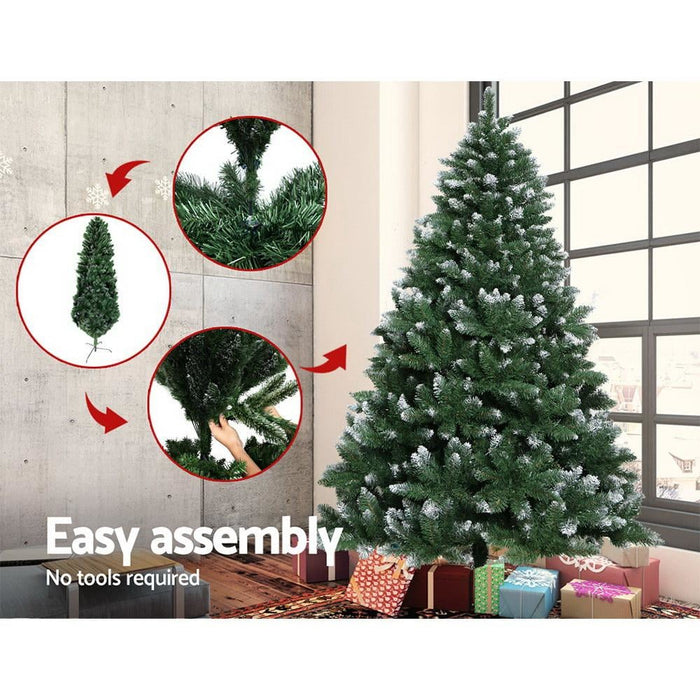 Jingle Jollys 7ft Christmas Snow Tree - Green - Occasions >