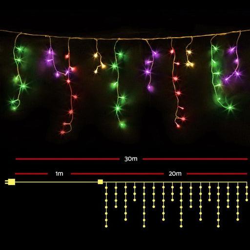 Jingle Jollys 800 Led Christmas Icicle Lights Mutlicolour -
