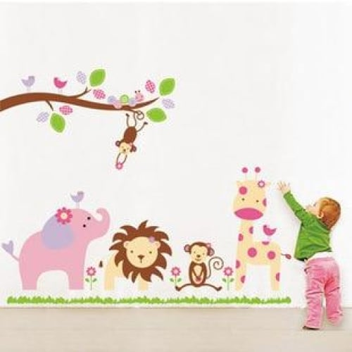 Jungle Animals Giraffe Lion Monkey Elephant Kids Room Wall
