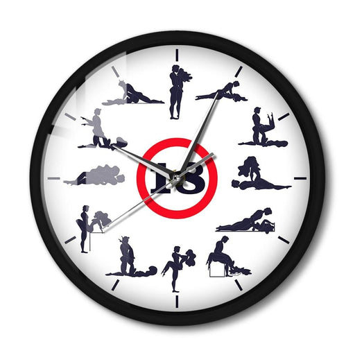 Kama Sutra Modern Design Metal Frame Wall Clock Sexual Poses LED Lighting Smart Clock With Voice Control Adult Sex Home Decor