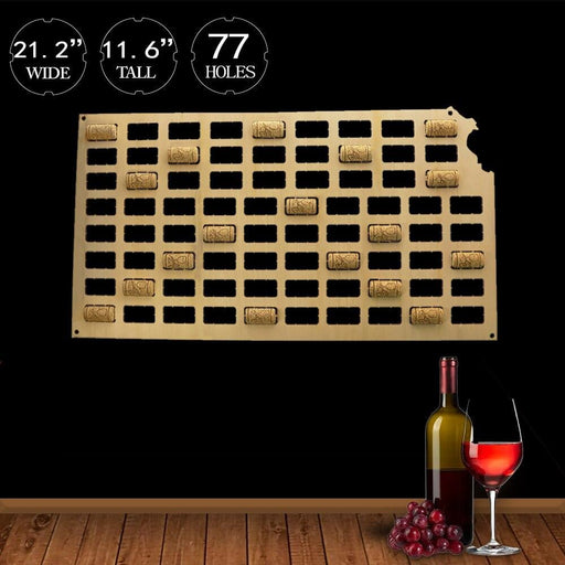U.S. state of Kansas Wine Cork Map Kansas City Home Deco Art Map Display Kansas City Skyline Custom Wood Craft Wine Cork Map