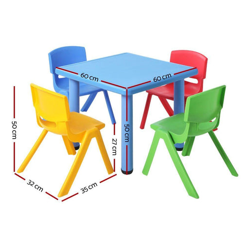 Keezi 5 Piece Kids Table and Chair Set - Blue - Baby & Kids
