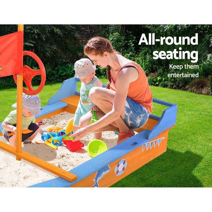 Keezi Boat-shaped Canopy Sand Pit - Baby & Kids > Toys