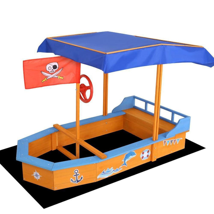 Keezi Boat-shaped Canopy Sand Pit goslash fast delivery fast delivery