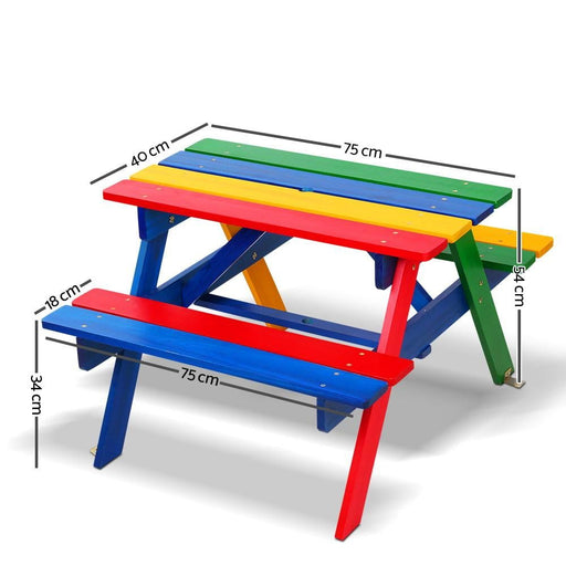 Keezi Kids Wooden Picnic Table Set with Umbrella - Baby &