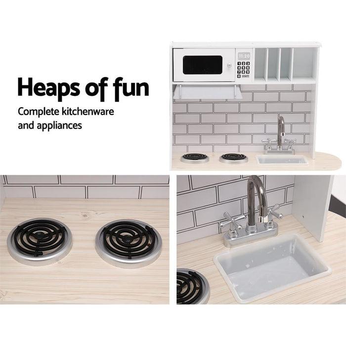 Keezi Wooden Kitchen Pretend Play Set - Baby & Kids > Toys
