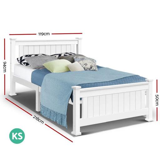 King Single Wooden Bed Frame - White - Furniture > Bedroom