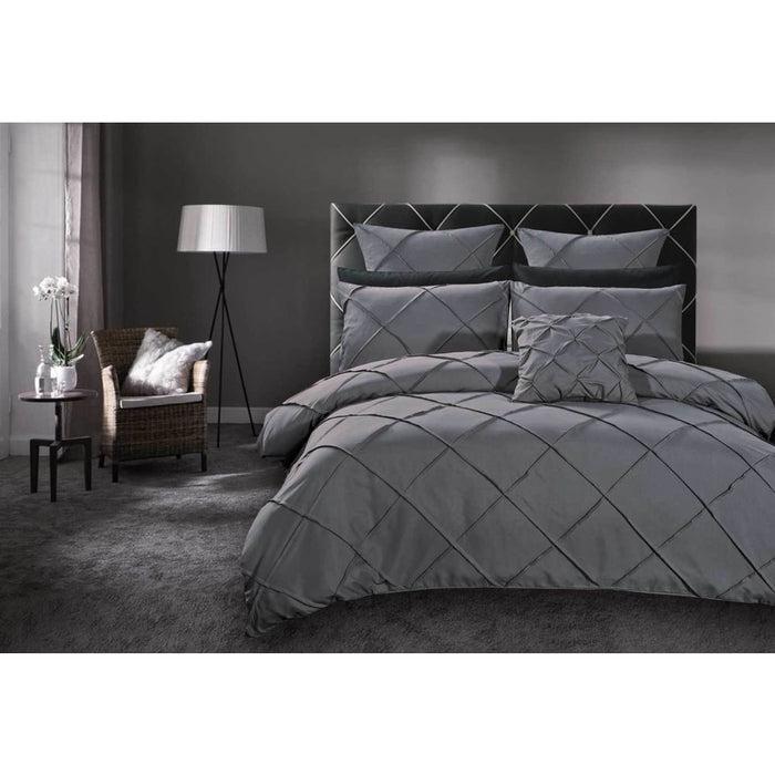 King Size Grey Diamond Pintuck Quilt Cover Set(3PCS)