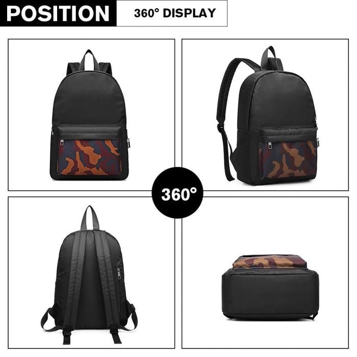 E1977 - Kono Camouflage Pocket Backpack - Black
