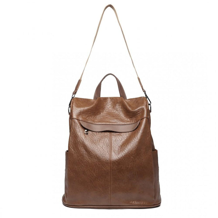 E1932 - Kono Classic Style Textured Anti-Theft Backpack Or