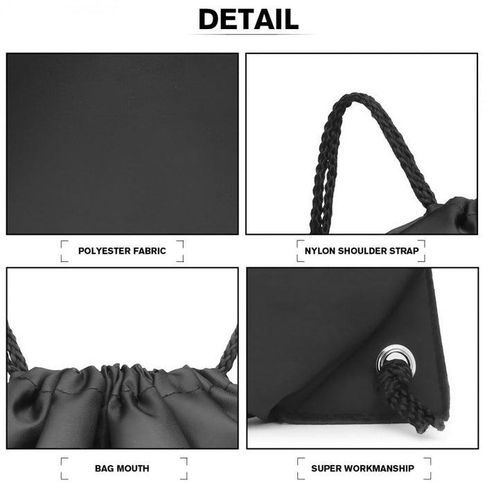 S2020 - Kono Polyester Drawstring Backpack - Black