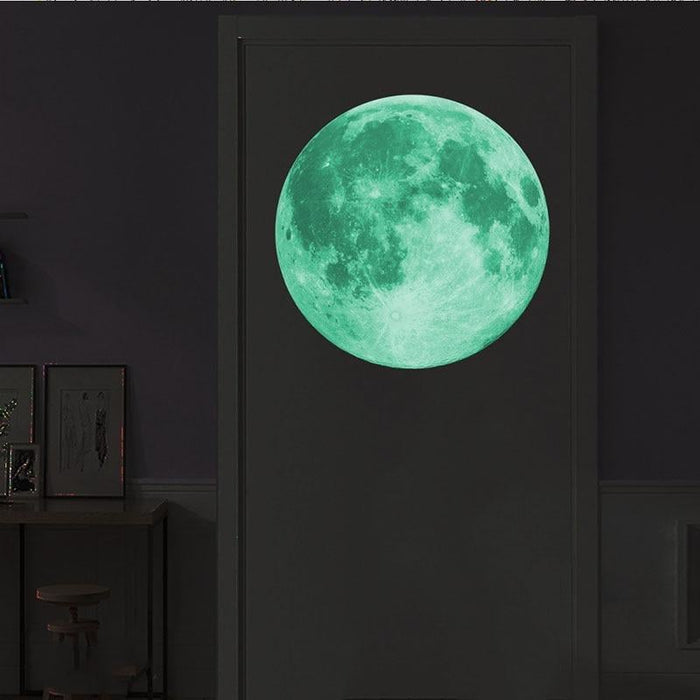 Large Luminous Moon 3D Effect Wall Stickers for Kids Room