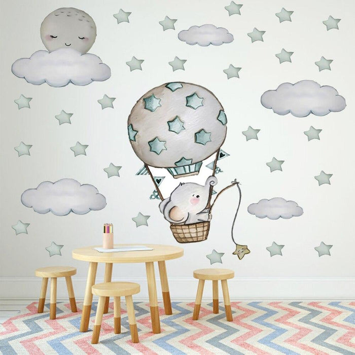 Large Size 100cmx100cm Wall Stickers Cute Baby Elephant on