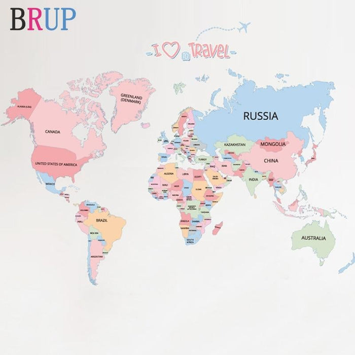 Large Size World Map Wall Stickers Colorful Map of The World