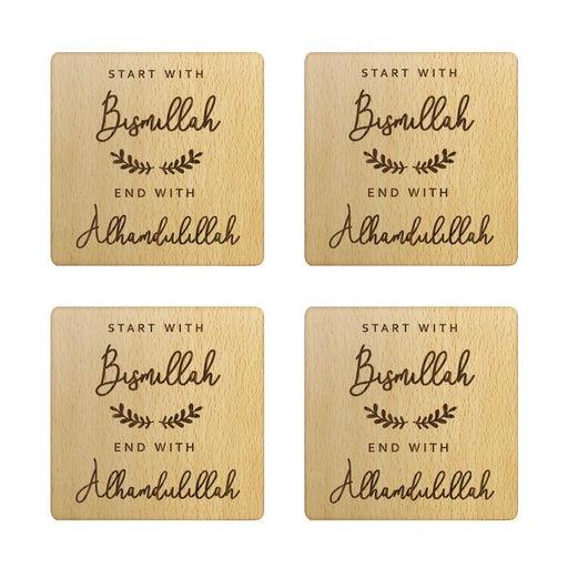 Rustic Bismillah & Alhamdulillah Wood Coasters Set Islamic Kitchen Decor Custom Laser Engraved Square Wooden Cup Mats Edi Gift