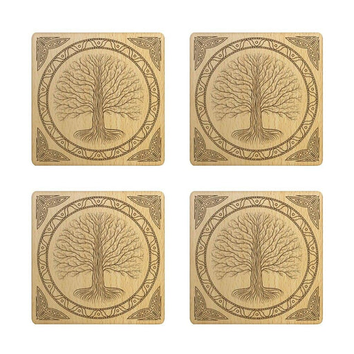 Set of 4 Celtic Style Druidic Yggdrasil Tree Laser Engraved Rustic Wood Coasters Gothic Tree Of Life Drink Cup Mat Beer Coasters