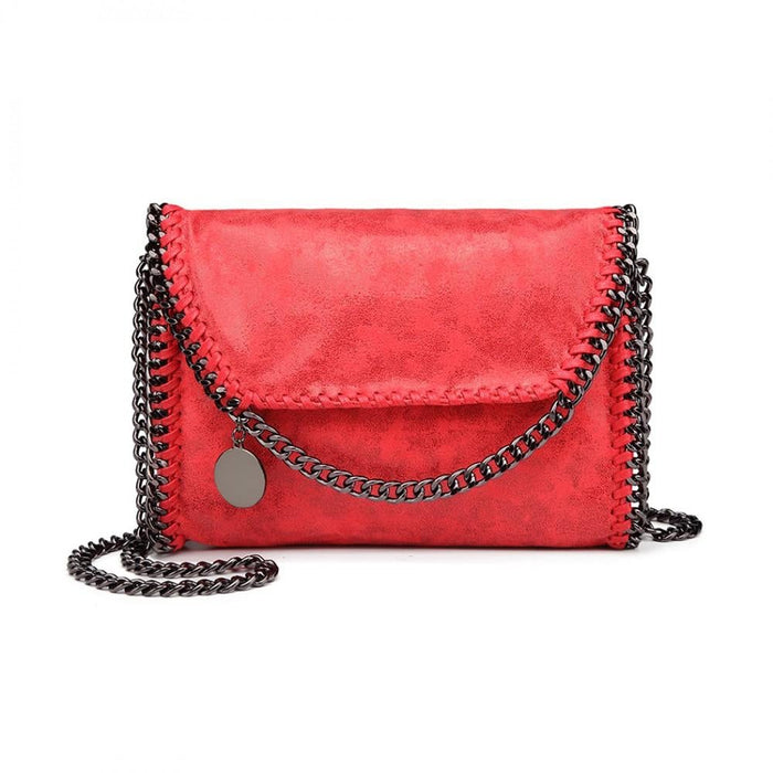 E6844 - Miss Lulu Leather Look Chain Fold-over Shoulder Bag