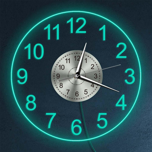Modern Acrylic Wall Clock With LED Backlight Bedroom Bedside Night Lamp Wall Clock Glow In Dark Multi Colors LED Lighting Decor