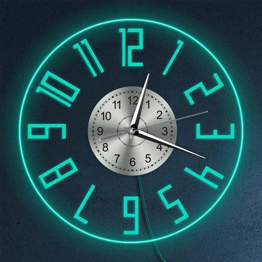 Easy To Read Big Numbers Modern Decor Silent Quartz Wall Clock LED Lighting Illuminated Wall Clock Living Room Bedside Wall Lamp