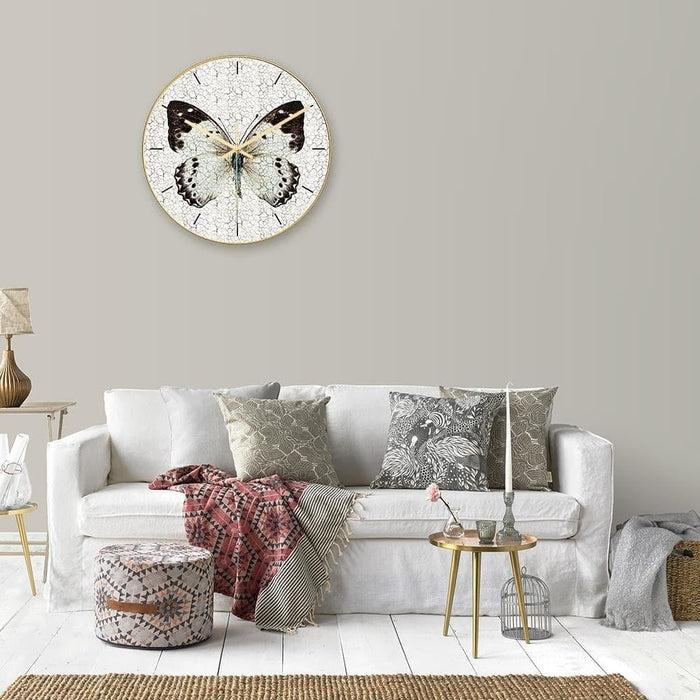 Loskii CC012 Creative Butterfly Pattern Wall Clock Mute Wall Clock Quartz Wall Clock For Home Office Decorations