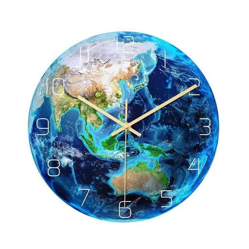 Loskii CC087 Creative Asia Luminous Earth Wall Clock Mute Wall Clock Quartz Wall Clock For Home Office Decorations