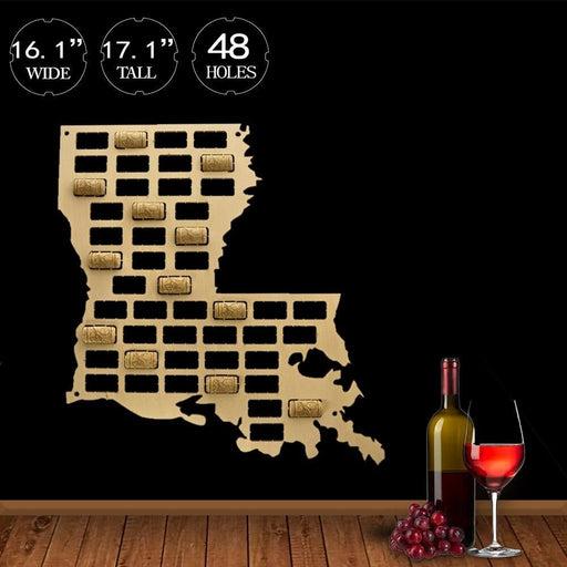 Louisiana Wine Cork Map USA State Wine Cork Collector Display Cork Map Home Decor Wooden Cutout Wall Hanging Louisiana Outline